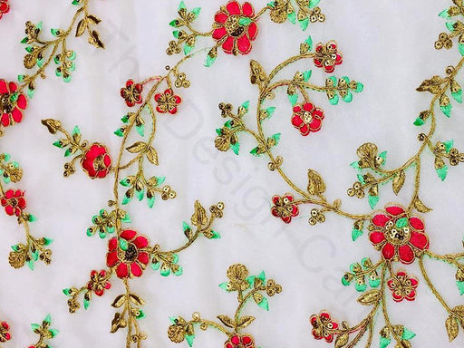 Lemon Yellow Floral Embroidered Organza Fabric