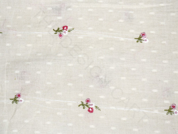 White Pink Floral Dobby Embroidered Cotton Fabric | The Design Cart (4169059172421)