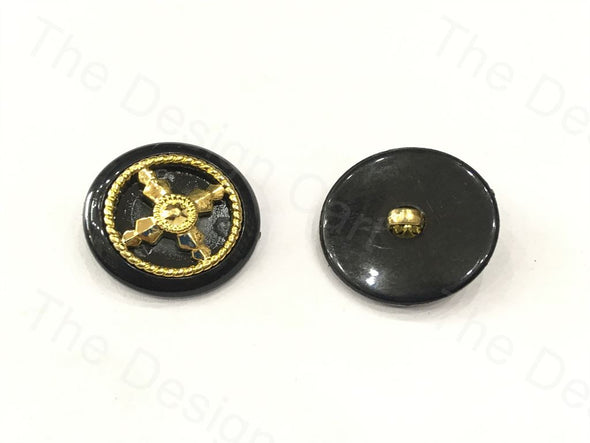 Black Golden Round Wheel Design Plastic Button