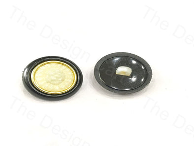 Black Golden Round White Centered Design Plastic Button