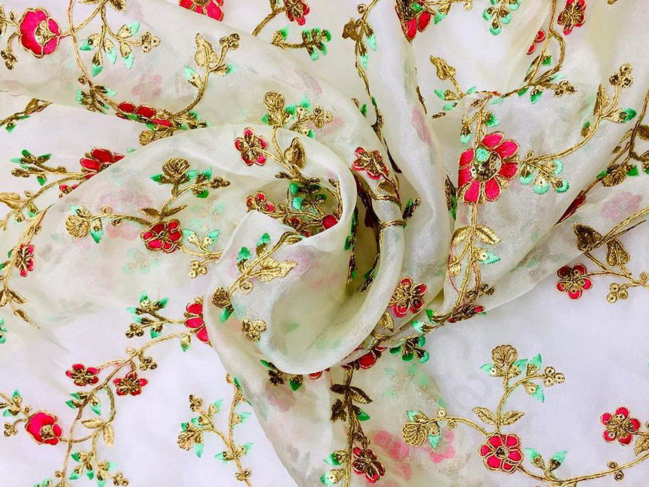 Off White Floral Organza Fabric