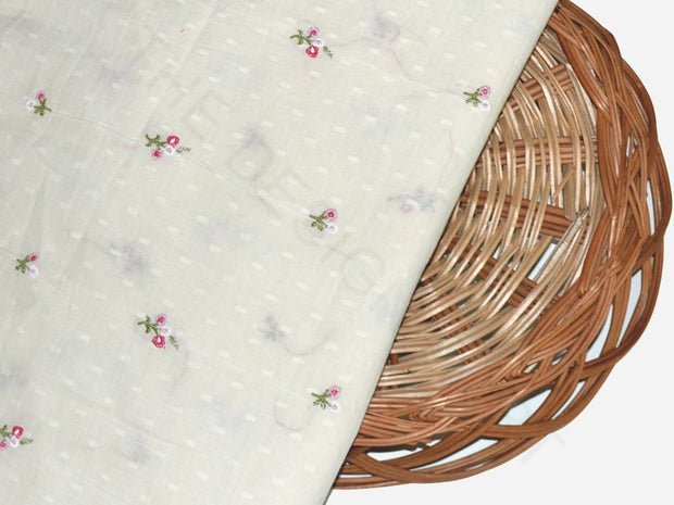 White Pink Floral Dobby Embroidered Cotton Fabric | The Design Cart