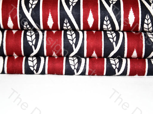 Red Black Leaves Border Design Cotton Fabric