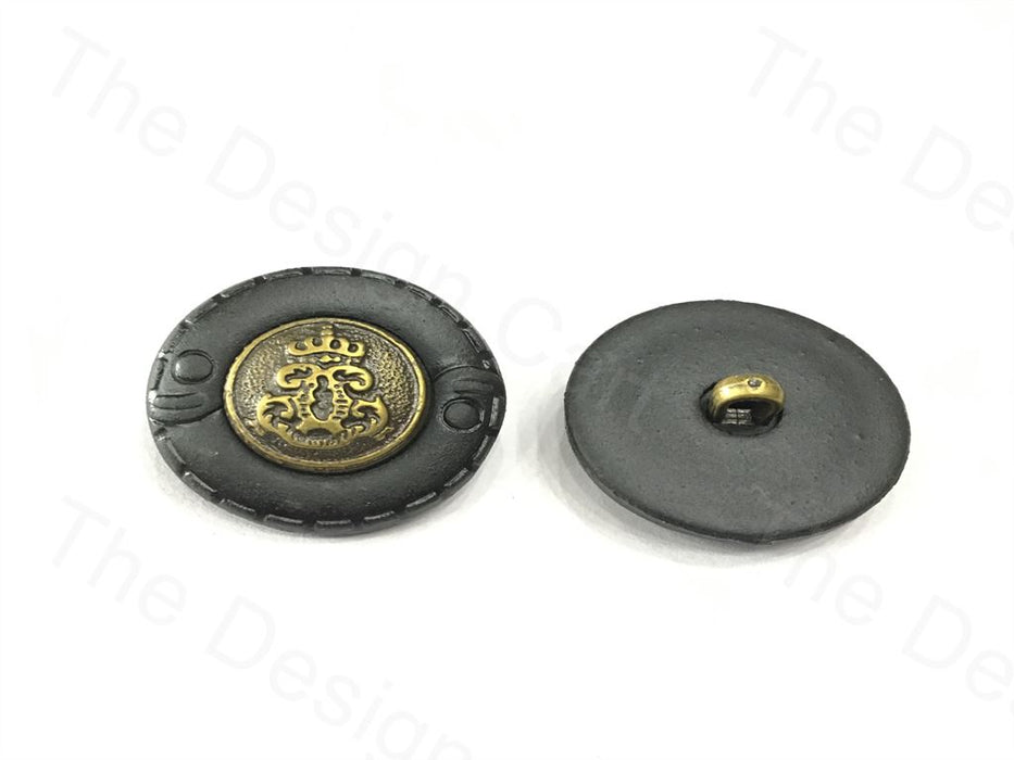 Black Golden Round Symbol Design Plastic Button