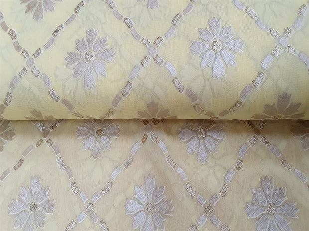 Lemon Yellow Argyle Floral Georgette Fabric | The Design Cart