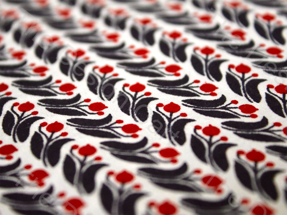 Crimson Red Lantana Floral Design Cotton Fabric