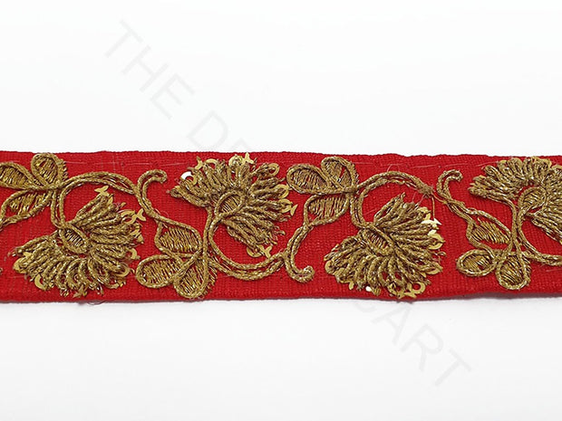 Red Sequins Zari Work Embroidered Border | The Design Cart