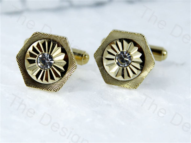 Octagon Round Design Golden Metallic Cufflinks (1364870299682)