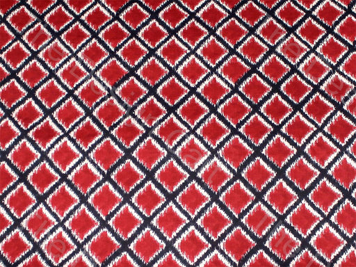 Red Black Diamond Design Cotton Fabric