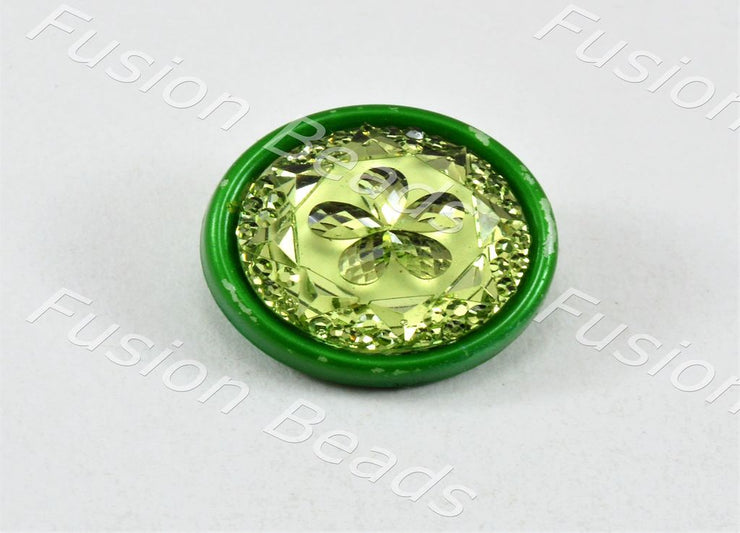 Lime Green Flower Plastic Button