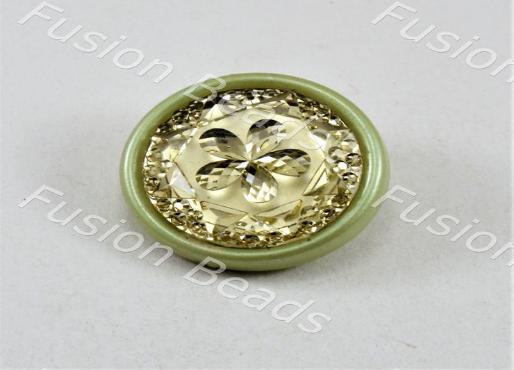 Olive Green Flower Plastic Button (375242391586)
