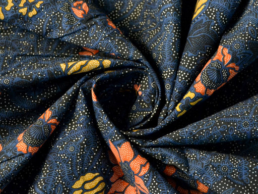 Dark Blue Red Yellow Flowers Cotton Cambric Fabric
