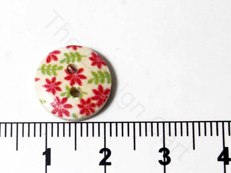 Red Green Flowers Design Wooden Buttons (1722813513762)