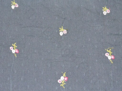 Navy Blue Floral Dobby Embroidered Fabric