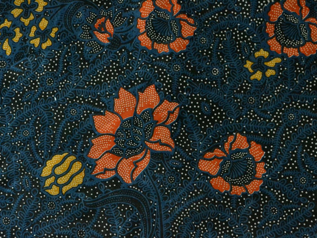 Dark Blue Red Yellow Flowers Cotton Cambric Fabric | The Design Cart