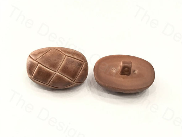 Chocolate Brown Oval Bread Design Plastic Button