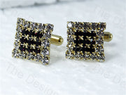 Square Starred Stones Design Golden Black Metallic Cufflinks (1364870397986)