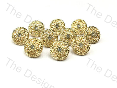 Floral Golden Crystal Round Metal Buttons - The Design Cart