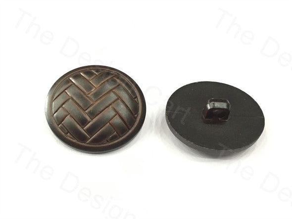 Black Brown Round Basket Design Plastic Button