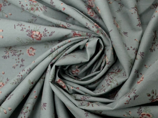 Gray Peach Floral Cotton Poplin Fabric