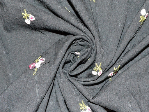 Black Floral Embroidered Cotton Cambric Fabric