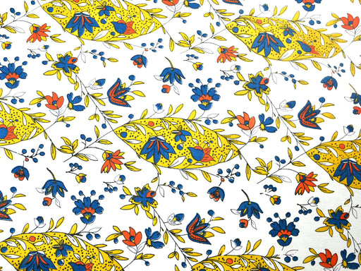 White Mustard Fish Print Cotton Poplin Fabric