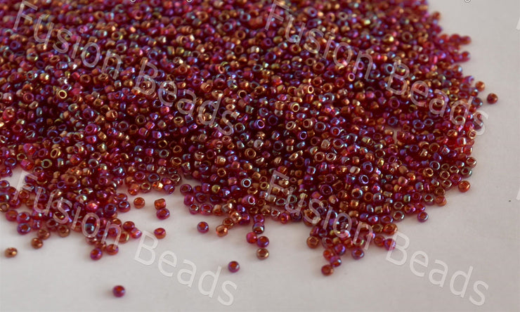 Transparent Rainbow Maroon Round Rocailles