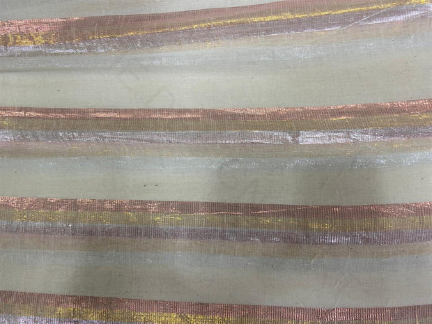 Off White Multicolour Copper Lurex Stripes Dyeable Cotton Voile Fabric | The Design Cart
