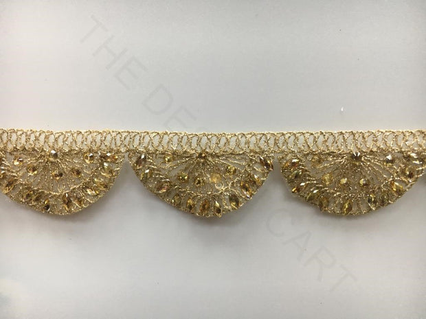 Golden Stone Work with Zari Embroidered Laces | The Design Cart