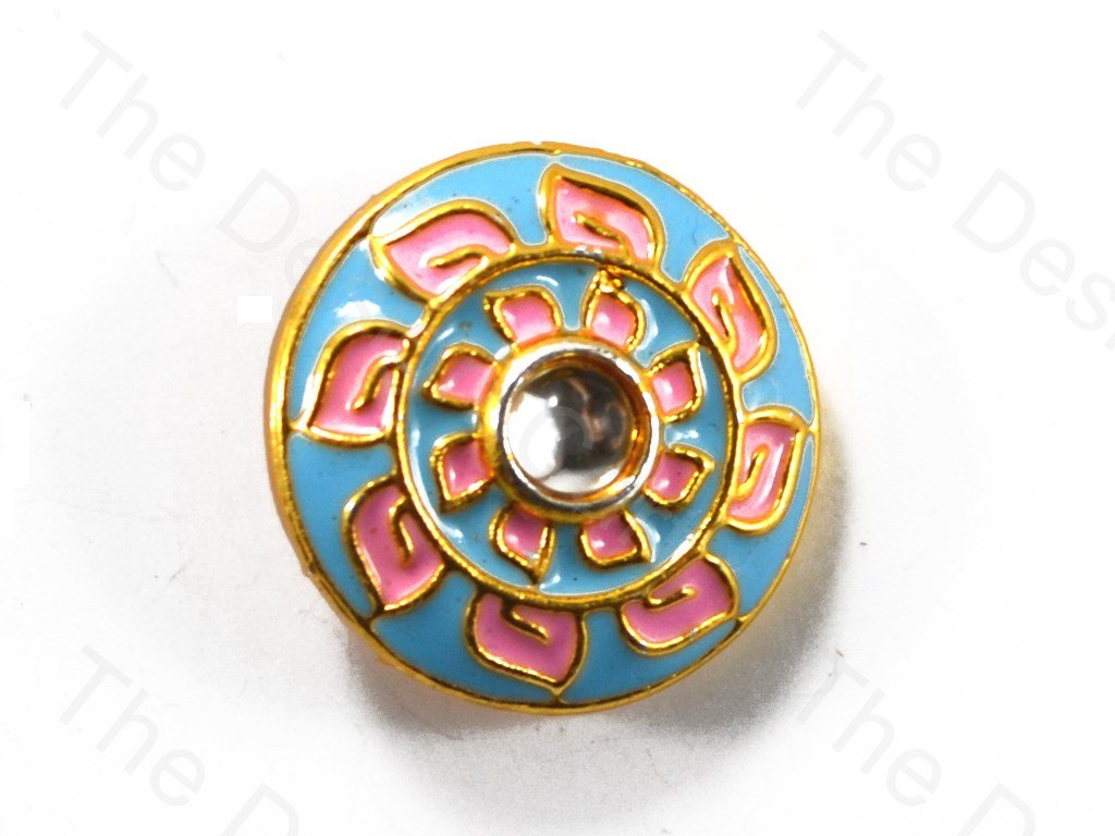 Blue Circular Shaped Golden Flower Kundan Buttons
