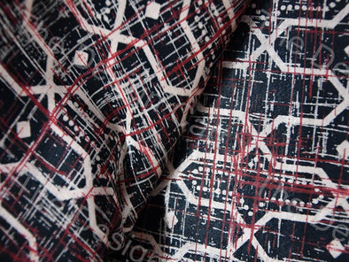 Gray Hex Print Mashru Silk Fabric