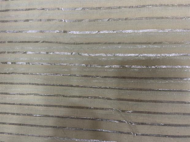 Off White Silver Broad Lurex Stripes Dyeable Cotton Voile Fabric | The Design Cart