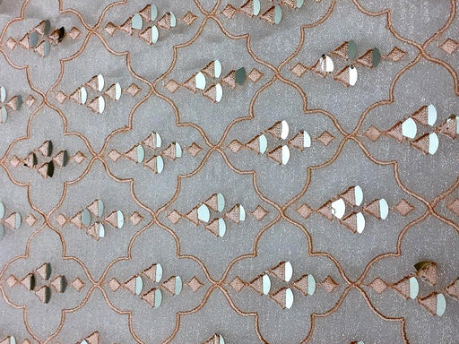Peach Geometric Embroidered Organza Fabric