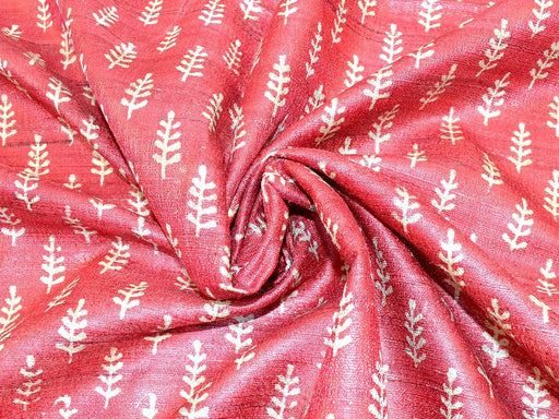 Red Leaves Print Design Tussar Silk Fabric