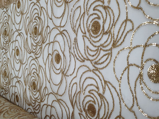 White Golden Flowers Dyeable Organza Fabric