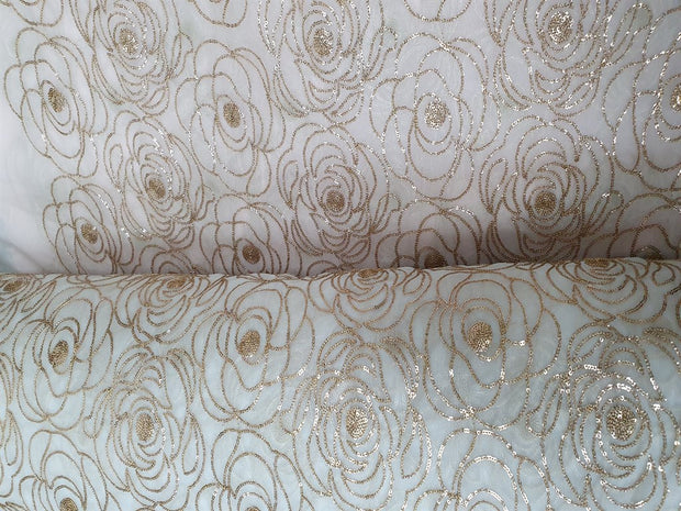 White Golden Flowers Dyeable Organza Fabric | The Design Cart