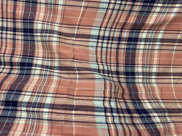 Peach Blue Checks Rayon Fabric | The Design Cart