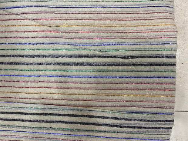 Off White Multicolour Black Lurex Stripes Dyeable Cotton Voile Fabric | The Design Cart