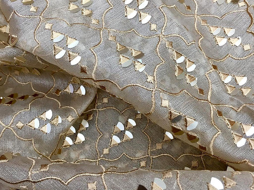 Beige Golden Geometric Embroidered Organza Fabric