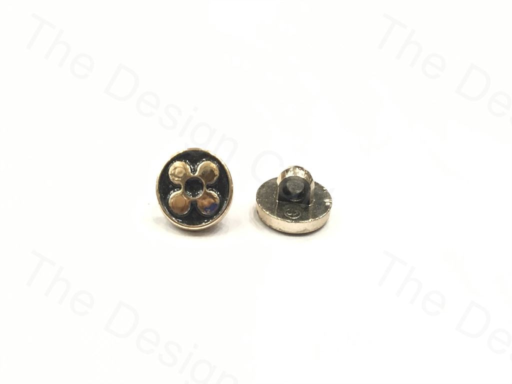 Black Golden Flower Circular Polymer Buttons