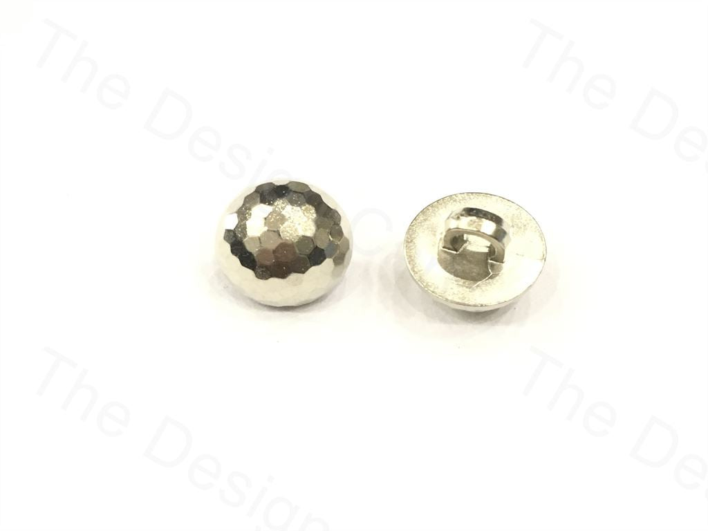 Shiny Silver Faceted Polymer Buttons