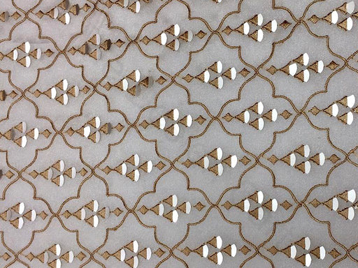 Beige Golden Geometric Organza Fabric