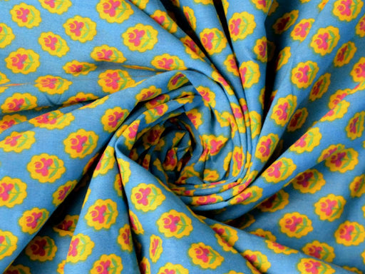 Turquoise Yellow Floral Cotton Fabric