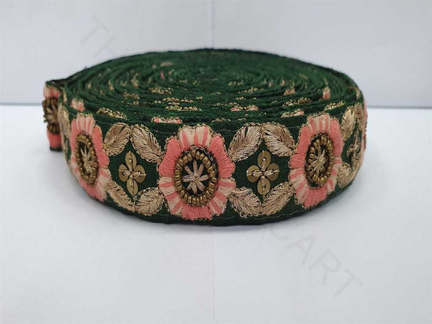 Dark Green Thread and Zari Work Embroidered Border | The Design Cart
