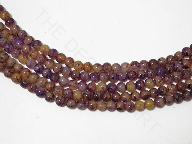 Purple Yellow Spherical Glass Pearls | The Design Cart