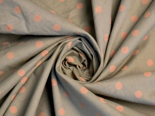 Pink Polka Gray Poplin Cotton Fabric