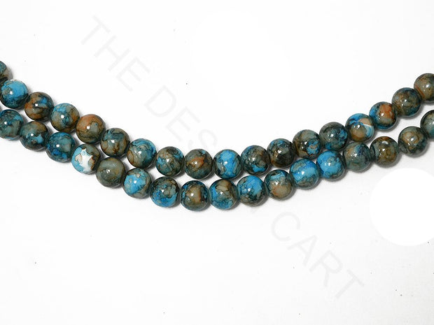 Blue Brown Spherical Glass Pearls | The Design Cart