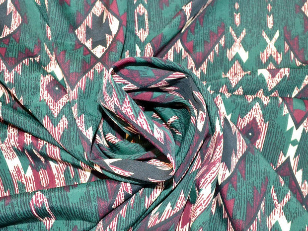 Green Argyle Design Polyester Crepe Fabric