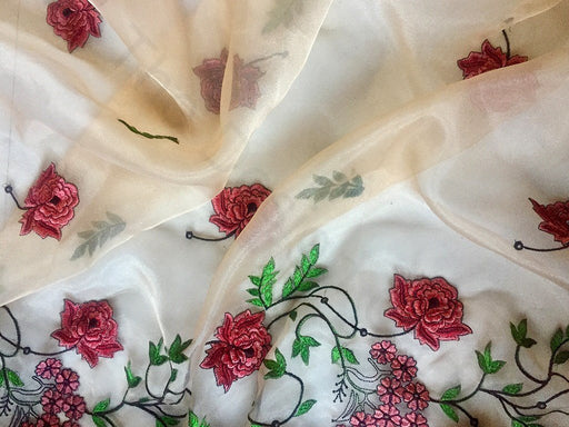 Off White Flower Design 1 Embroidered Organza Fabric