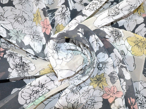 Multicolor Floral Design Polyester Georgette Fabric